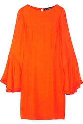 Haney Ruffled Silk Georgette Mini Dress Bright Orange