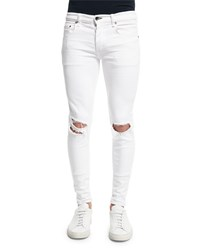 Rag And Bone Low Rise Distressed Skinny Jeans White
