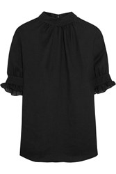 Mcq By Alexander Mcqueen Guipure Lace Trimmed Gauze Blouse Black