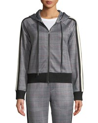 Pam And Gela Glen Plaid Cropped Hooded Track Jacket Gray Pattern
