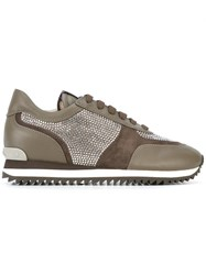 Le Silla Embellished Lace Up Sneakers Green