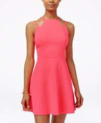 Material Girl Juniors' Strappy Textured Fit And Flare Dress Only At Macy's Neon Punch