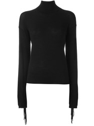 P.A.R.O.S.H. Roll Neck Fringed Sweater Black