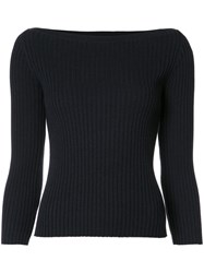 Theory Ribbed Boat Neck Jumper Blue