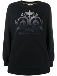 Fendi Embroidered Ff Logo Sweater Black