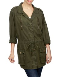 Lucky Brand Cotton Military Jacket Green