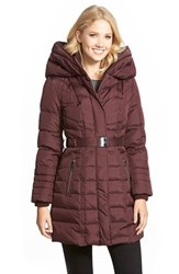 Women's Kensie Belted Hooded Down And Feather Fill Coat
