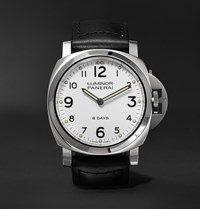 Officine Panerai Luminor Base 8 Days 44Mm Stainless Steel And Leather Watch Black