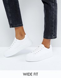 Asos Day Light Wide Fit Flatform Lace Up Sneakers White