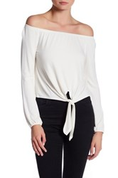 Love Zoe Off The Shoulder Tie Front Shirt White