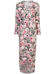 Fleur Du Mal Poppy Print Wrap Maxi Dress Pink And Purple