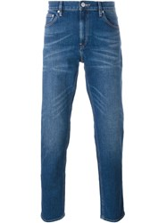 Michael Kors Washed Effect Straight Leg Jeans Blue