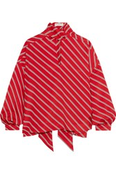 Balenciaga Pussy Bow Striped Crepe De Chine Blouse Tomato Red