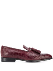 Jimmy Choo Foxley Crocodile Effect Loafers Red
