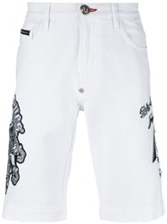 Philipp Plein Embroidered Slogan Shorts White