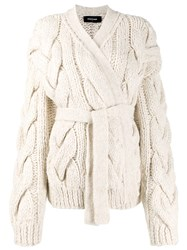 Dsquared2 Chunky Cable Knit Cardigan White