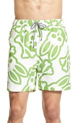 Men's Psycho Bunny Print Swim Trunks Lovebird Green