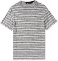 Alexander Wang Slim Fit Striped Slub Linen Jersey T Shirt Gray
