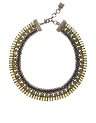 Bcbgmaxazria Iron Corded Stone Necklace Dark Fatigue Combo