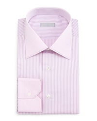 Stefano Ricci Contrast Collar Striped Dress Shirt Pink