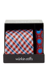 Wurkin Stiffs Plaid Tie And Pocket Square Set Red