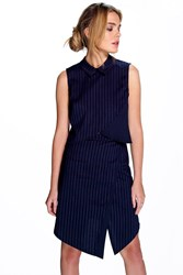 Boohoo Pinstripe Wrap Front Skirt Navy