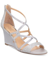 Jewel Badgley Mischka Ally Strappy Evening Wedge Sandals Women's Shoes Silver