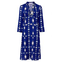 Libelula Long Beach Dress Zig Zag Diamond Print Blue