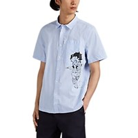 Ovadia And Sons Betty Boop Print Striped Cotton Shirt Blue
