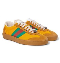 Gucci Jbg Webbing Suede And Leather Trimmed Nylon Sneakers Saffron