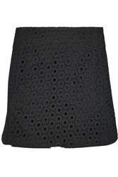 Victoria Beckham Layered Cotton Lace Mini Skirt Black