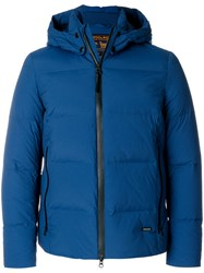 Woolrich Hooded Padded Jacket Feather Down Polyamide Spandex Elastane Blue