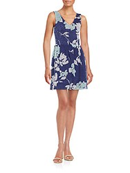 Saks Fifth Avenue Red Textured Floral Print Dress Blue Multi