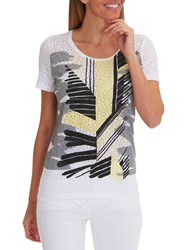 Betty Barclay Graphic Print T Shirt White Yellow