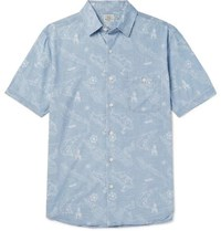 Faherty Printed Cotton Shirt Blue
