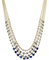 Inc International Concepts Gold Tone Multi Bead Multi Row Necklace Only At Macy's Blue