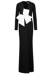 Paule Ka Monochrome Bow Embellished Crepe Gown Black And White