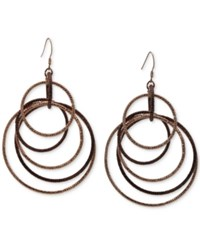 Guess Two Tone Multi Circle Drop Earrings In Silver Tone And Rose Gold Tone Mixed Metal