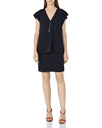 Reiss Tarquin Tiered Chain Detail Dress Night Navy