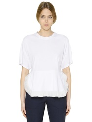 Chloe Cotton Jersey And Silk Chiffon T Shirt White