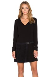 1. State Long Sleeve Pleat Detail Shift Dress Black