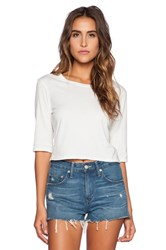 Michael Stars 3 4 Sleeve Crop Top White