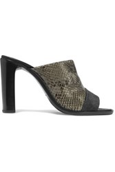 Rag And Bone Tristan Snake Effect Leather Mules Anthracite