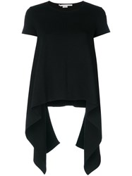 Stella Mccartney Compact Knit Handkerchief T Shirt Polyamide Viscose Black