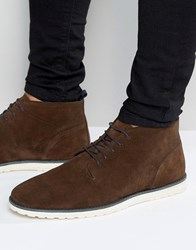 Asos Lace Up Boots In Brown Suede With White Wedge Sole Brown