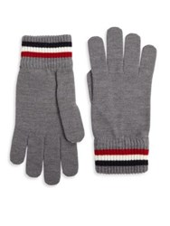 Moncler Striped Virgin Wool Gloves Light Grey
