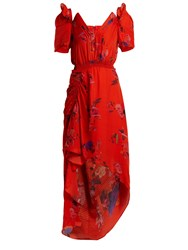 Preen Dana Floral Print Silk Jacquard Dress Red Multi