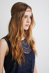 Forever 21 Faux Suede And Chain Headband Brown Gold