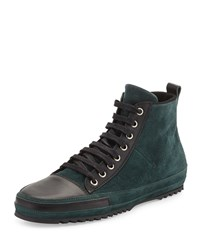 Cnc Costume National Suede Lace Up High Top Sneaker Forest Black Green Black Men's