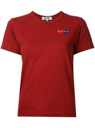 Comme Des Garcons Play Double Heart T Shirt Red